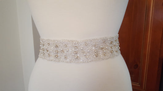 Sash Crystal, Pearls and Beaded