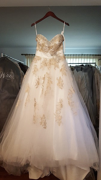 Da Vinci Gold Flower Ball Gown