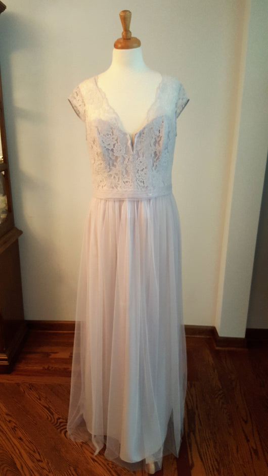 Amsale Light Gray Long Dress