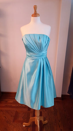 Strapless Dress with Pleated Bodice