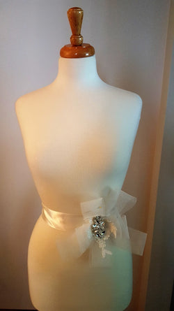 Sash with Lace, Crystals, Bading