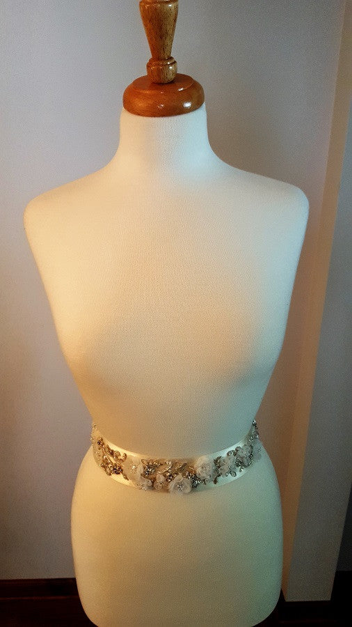 Sash with Flowers, Beading, Crystals