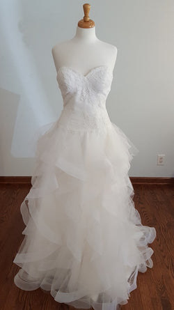 White One Ruffle Ball Gown
