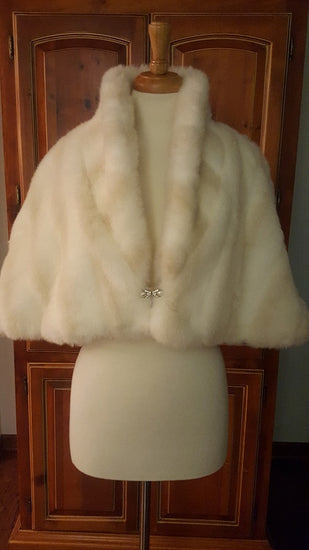 BuDee Faux-Fur Capelet with Jeweled Clasp