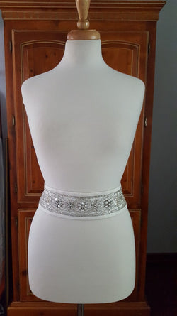 Sash Satin Crystal Flowers, Beading
