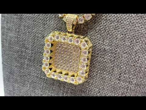 Square Iced Out Solitaire Pendant