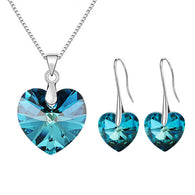 Classic Heart Pendant Necklace and Matching Earrings - Cloud Inc Store