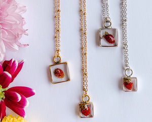 Alette Square Necklace with Strawberries