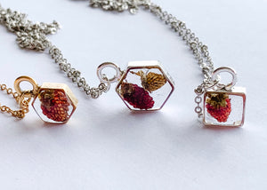 Tille Hexagon Necklace with Strawberries