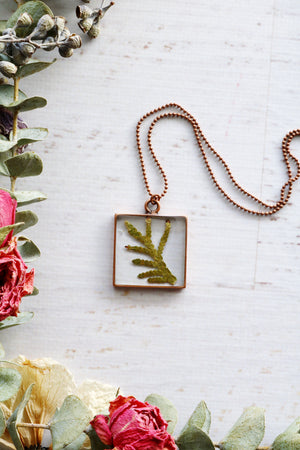 Alette Gold or Copper Square Cedar Necklace