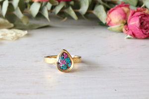 Sabrine Teardrop (Size 7) Gold Ring: 2 Variations