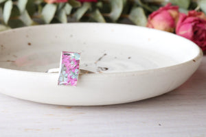 Aava Dainty Silver Rectangle Ring (Size 7)