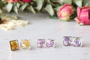 Sanna Silver Square Stud Earrings: 11 Variations