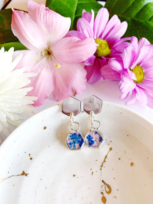 Eija Stud Dangle Earrings with Blue & Light Pink Flowers