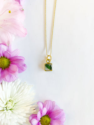 Alette Gold Square Necklace with Lace Fern