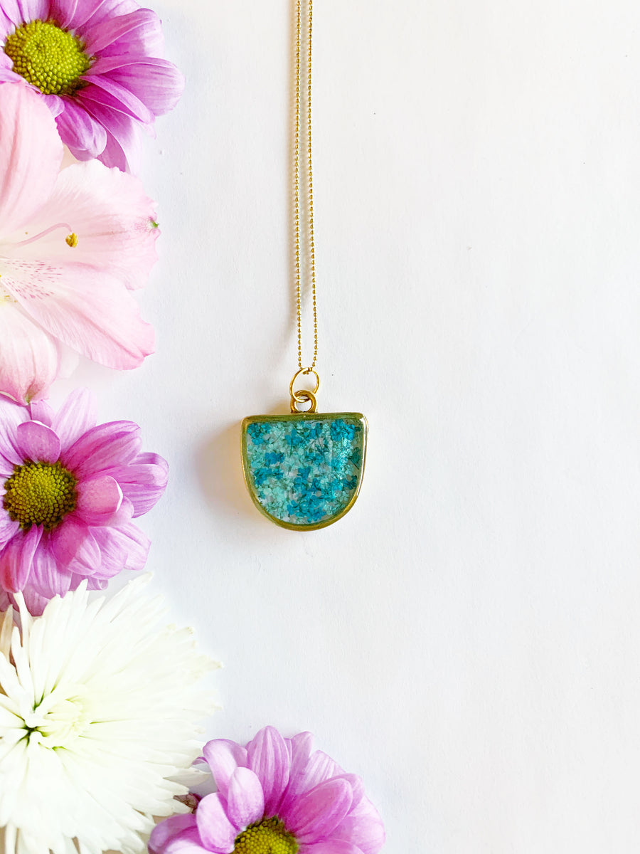 Alise Gold Half Oval Necklace with Teal & Light Blue Flowers