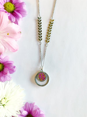Satu Silver Circle Necklace with Pink & Orange Flowers