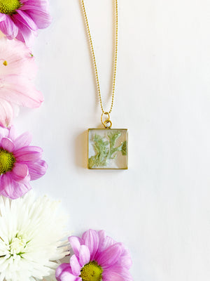Alette Gold Square Necklace with Lichen Moss