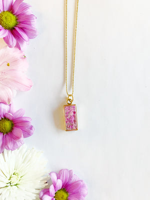 Nea Gold Rectangle Necklace with Pink Flowers