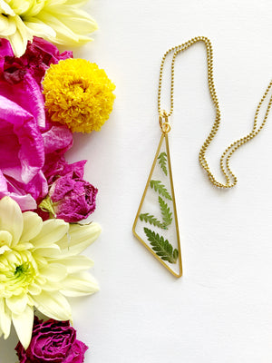 Gold Triangle Fern Necklace