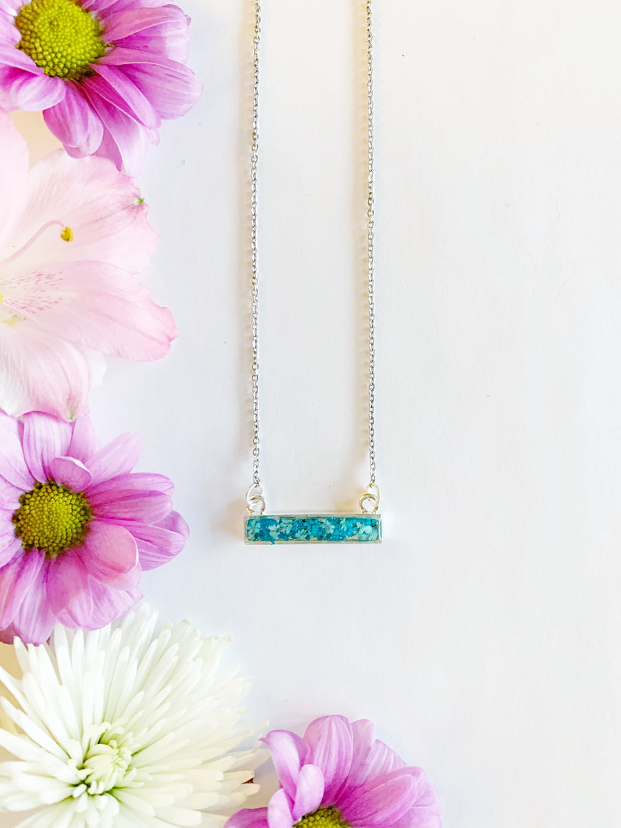 Riia Silver Bar Necklace with Teal & Light Blue Flowers
