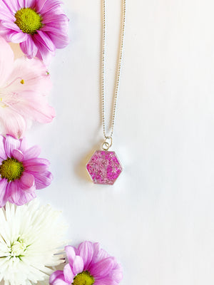 Tille Silver Hexagon Necklace with Pink Flowers