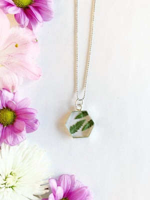 Tille Silver Hexagon Necklace with Leather Fern