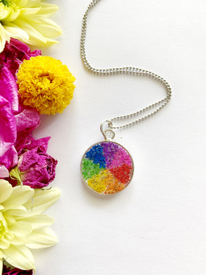 Satu Circle Rainbow Pinwheel Necklace