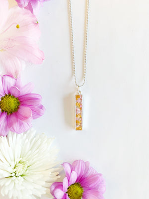 Riia Silver Bar Necklace with Orange & Light Pink Flowers
