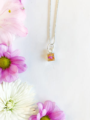 Alette Silver Square Necklace with Pink & Orange