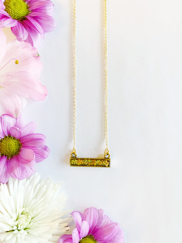 Riia Silver Bar Necklace with Yellow & Orange Flowers