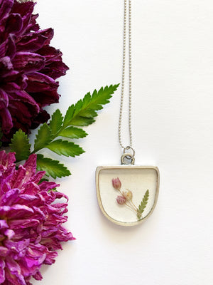 Half Oval Onion Flower & Leather Fern Necklace