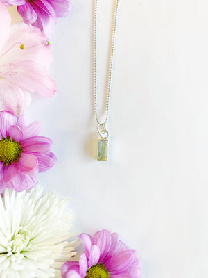 Nea Silver Rectangle Necklace with Asparagus Fern