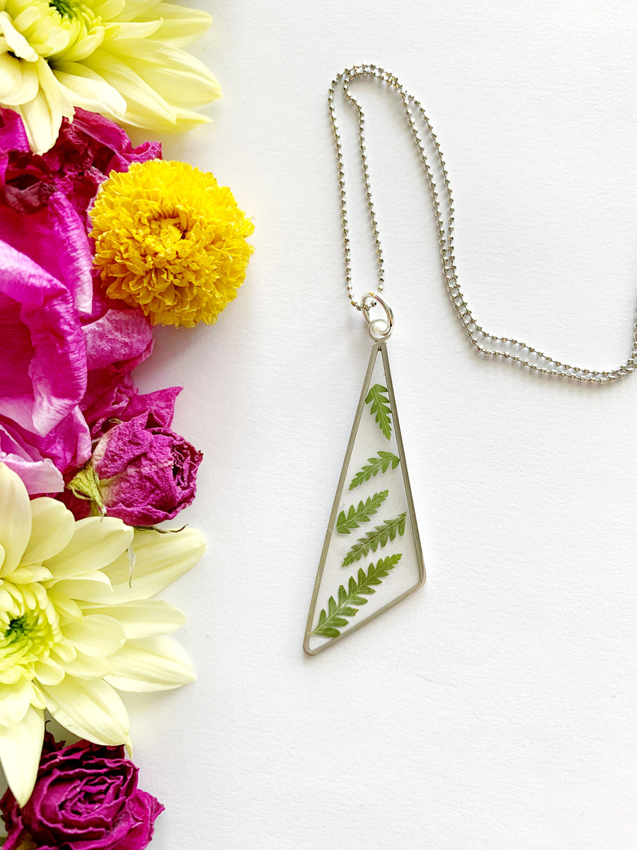 Silver Triangle Fern Necklace
