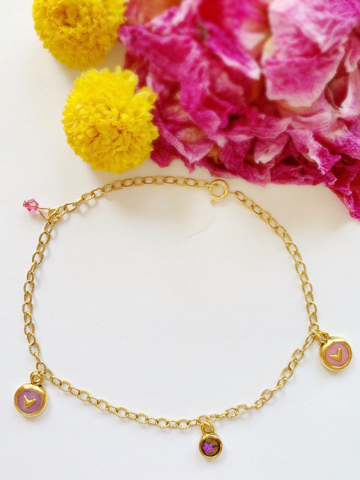 Aurora Gold Anklet with Pinks and Purples