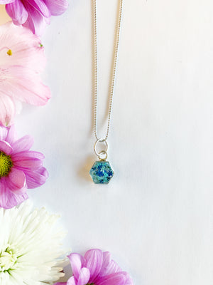 Tille Silver Hexagon Necklace with Blue Flowers