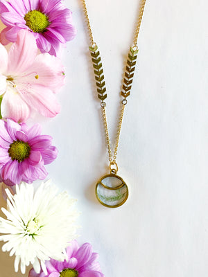 Satu Gold Circle Necklace with Asparagus Fern