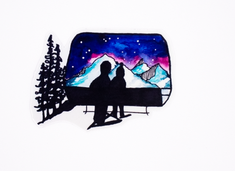 Chairlift Night Sticker