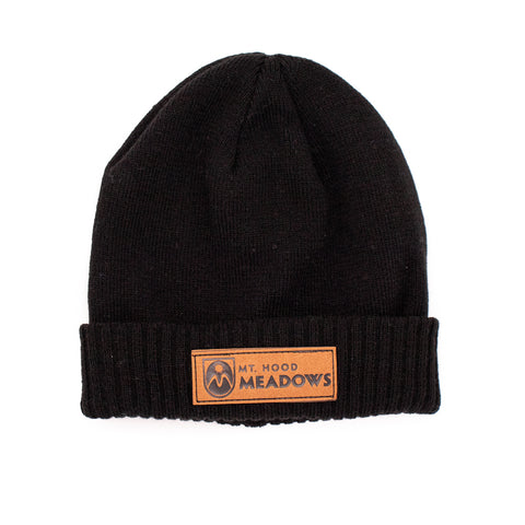 Knit Beanie with Suede Patch