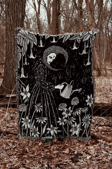 The Moon's Garden Woven Tapestry Blanket