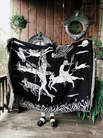The Flight of the Witches Woven Tapestry Blanket