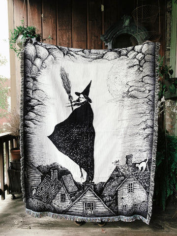 A New England Halloween Woven Tapestry Blanket