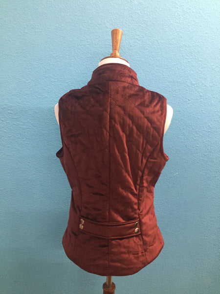 Quilted Merlot Vest w Zippered Pockets
