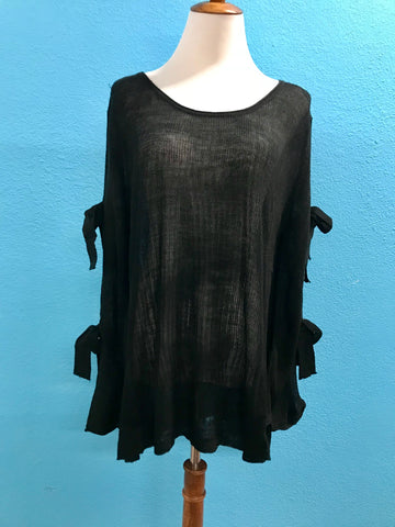 Black Sweater with Tied Cut Out Sleeves
