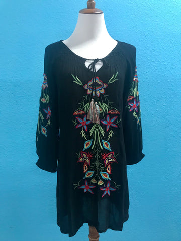 Black Peasant Top with Colorful Embroidery