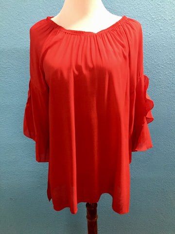 Multiples scarlet ruffle ragland top