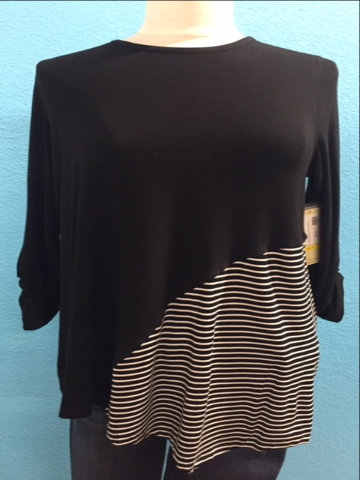 Plus size Multiples Black w/Black & White Stripes