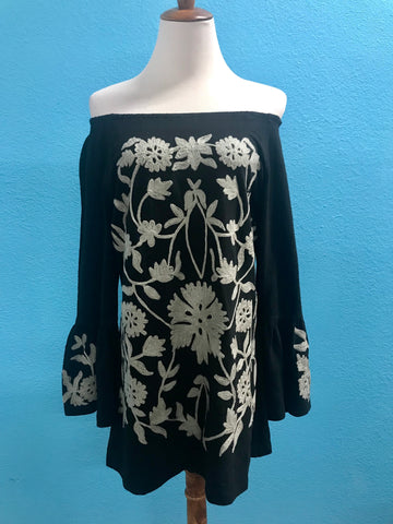 Black top with Grey Embroidery
