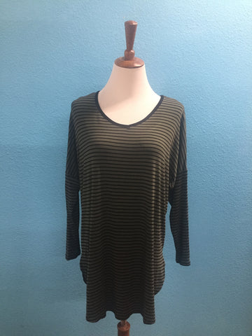 Olive Stripe LS Drop Shoulder Tunic