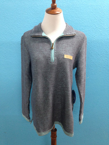 JadeLynn Brooke Mint and Grey Boyfriend Pullover